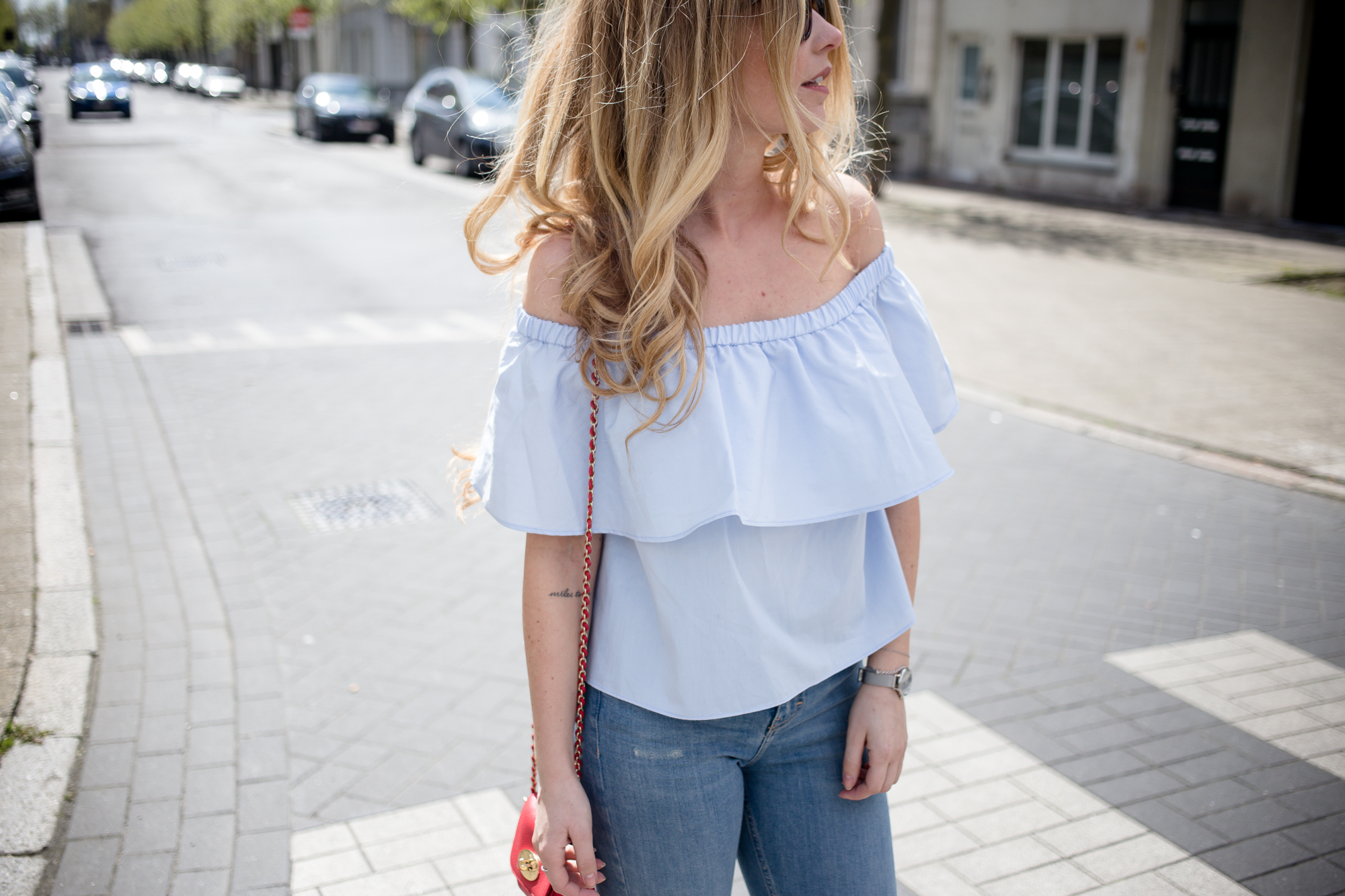 Bershka Blue Ruffle Top