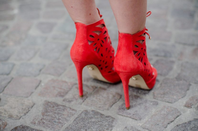 Guess Red Lace-Up Heels