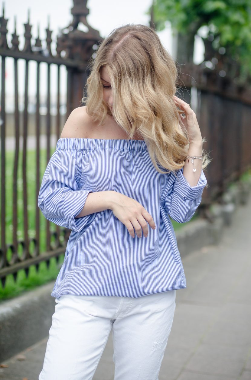Zara Off Shoulder Top and White Jeans-14