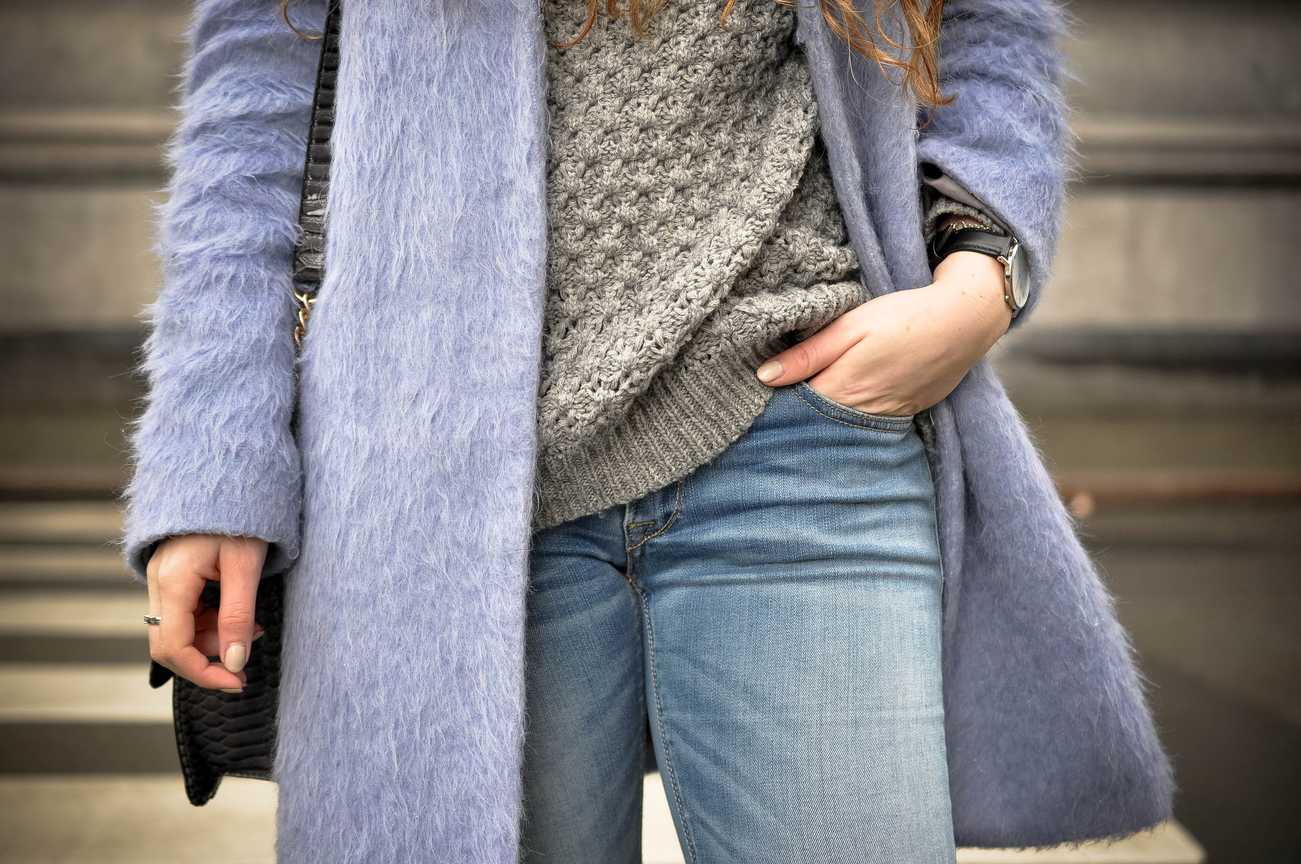 Dogs and Dresses fuzzy blue coat by Topshop and grey hat from Maison Scotch