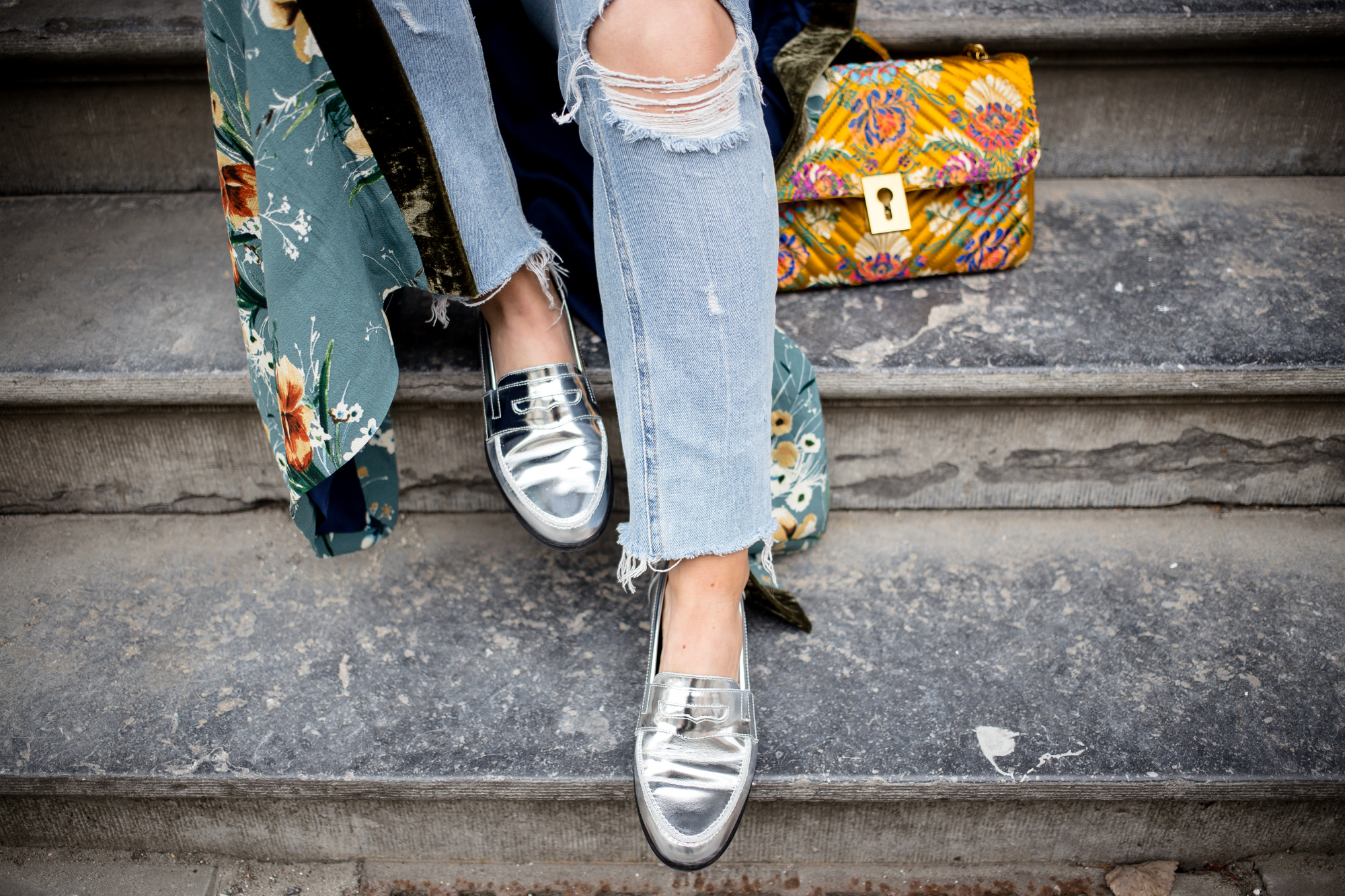 Kimono and silver loafers